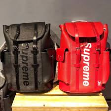 louis vuitton x supreme christopher backpack epi pm red inspired