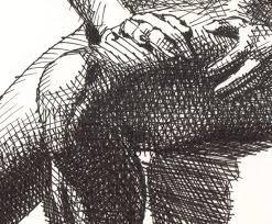 drawing of sitting figure artwork by d b clemons