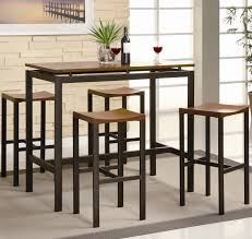 high table with stools atlus contemporary style black brown counter height dining set w