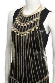 gold necklace dress images Women gold metal full body chains fashion jewelry harness dress jpg