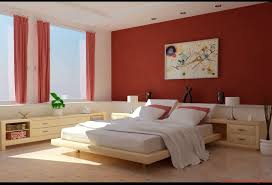 red color of wall paint decoration in modern bedroom design ideas
