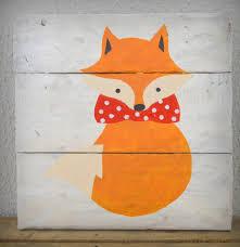tableaux chambre bébé tableau renard noeud papillon décoration chambre enfant 30x30cm