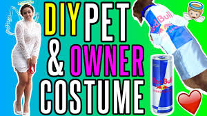 diy angel u0026 red bull halloween costume pet and owner