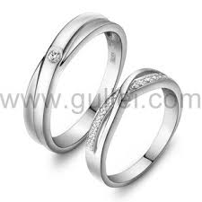couples wedding bands cubic zircona sterling silver wedding rings with engraving