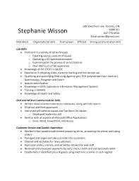 Lab Experience Resume Resume