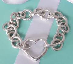 heart link charm bracelet images Tiffany co silver large link open heart clasp 8 quot heavy bracelet jpg