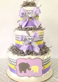 3 tier lavender and champagne gold diaper cake elegant baby