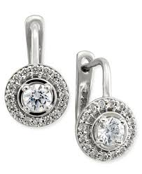 leverback diamond earrings diamond halo leverback earrings 1 2 ct t w in 14k white or