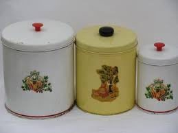 metal kitchen canisters 1940 s 50 s metal kitchen canister tins vintage decals