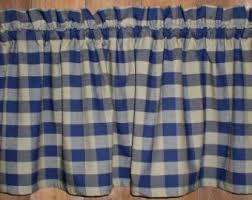 americana plaid homespun valance country primitive curtains