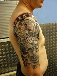 men tattoos clock half sleeve tattoo designs for men polynesian