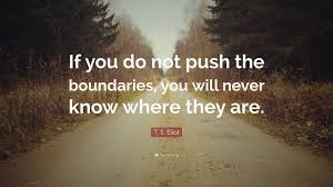 t s eliot quote u201cif you do not push the boundaries you will