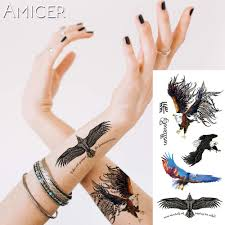 eagle tattoo on finger 1 piece fantasy color forest eagle birds hot large animal temporary