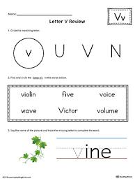 letter v beginning sound picture match worksheet color