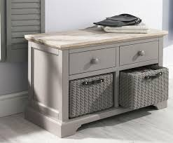 florence dove grey storage bench with 2 drawers and storage baskets