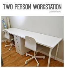 2 Person Desk Ideas Two Person Ikea Desk With Lerberg Trestle Legs And Karlby