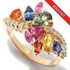 coloured sapphire rings images Effy 14k gold 2 55ctw diamond multi color sapphire ring evine