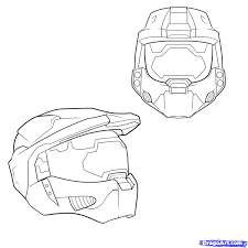 how to draw a halo helmet step by step video game characters