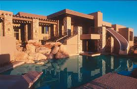 southwestern style homes traditional southwest style home features a built in pool water