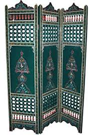 amazon com 4 panel moroccan style hand carved solid wood screen