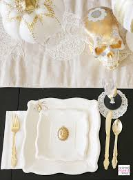 halloween gold decorate your halloween table 3 ways vintage spider theme