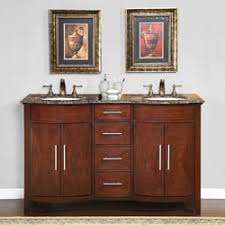 55 Inch Bathroom Vanity Double Sink Silkroad Exclusive Wood And Crema 55 Inch Marble Double Bathroom