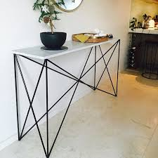 Marble Console Table White Italian Marble Criss Cross Console Table