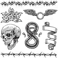 dagger skull rose snake ribbon barbed wire tattoo designs stock