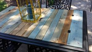 outdoor table top replacement wood took the glass top out of a patio table and replaced with stained