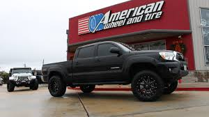 a toyota fueloffroadmaverick wheels in matte black milled on a