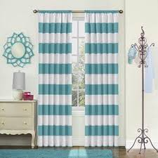 Rugby Stripe Curtains 1 84 Inch Teal White Rugby Stripes Curtain