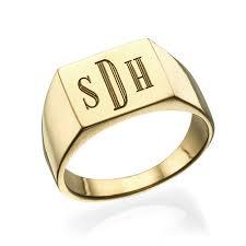 signet ring men men s signet ring with gold plating monogram engraving