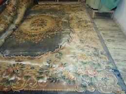 Faded Area Rug 12x15 Faded Blue Aubusson Wool Area Rug Carpet