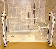 barrier free shower with folding seat and caregiver doors