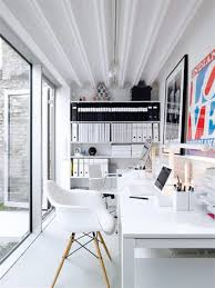 white minimalist home office design with floating desk imac and