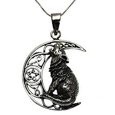 silver wolf pendant necklace images Sterling silver 925 wolf moon pendant necklace amazon co uk jpg
