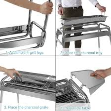 wolfwise portable folding stainless steel charcoal grill with