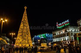 tree made of lights at puerta sol square in