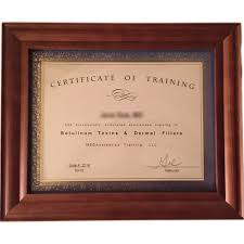 certificate of training in wood certificate frame medaesthetics