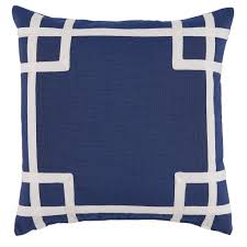 Blue Outdoor Cushions Fretwork Border Embroidered Indoor Outdoor Pillow U2014 Navy Blue