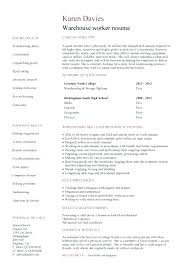 sample resumes for warehouse jobs resume examples labor workers