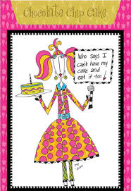 chocolate chip cake dolly mama funny humorous birthday card by