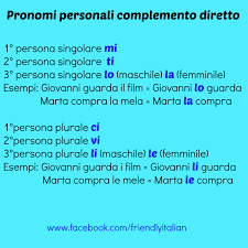 the difference between direct and indirect pronouns in italian