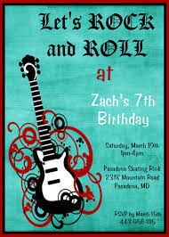 Invitation Card 7th Birthday Boy Rock N Roll Party Invitations Rock And Roll Party Invitation
