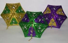 mardi gras ornaments 3 mardi gras purple green gold glitter umbrella parasol ornament