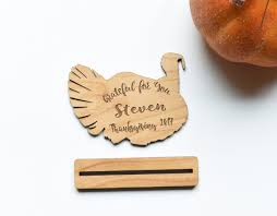 personalized turkey thanksgiving place card setting wood set of 8
