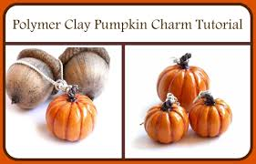 how to make a polymer clay pumpkin charm bead thanksgiving