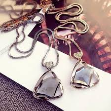crystal glass pendant necklace images European fashion charm geometry crystal glass pendant necklace jpg