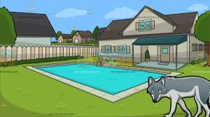 a wolf with a suburban house with swimming pool background cartoon