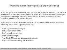 Executive Administrative Assistant Sample Resume by Executive Administrative Assistant Experience Letter 1 638 Jpg Cb U003d1409484577